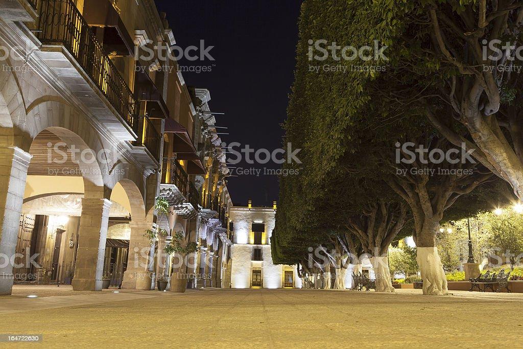 Queretaro main square at night stock photo