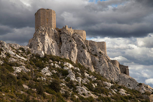 Queribus, the Last Cathar Stronghold stock photo