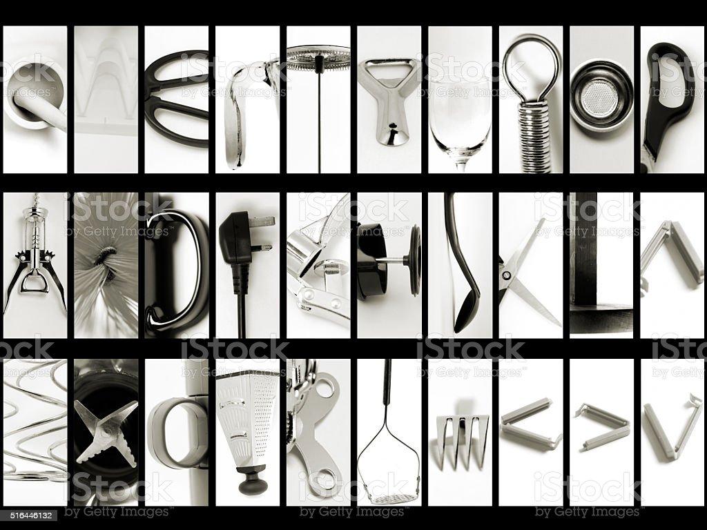 Querty Style Kitchen Macro Alphabet stock photo