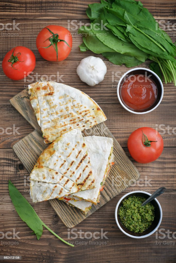 Quesadilla with chicken royalty-free stock photo
