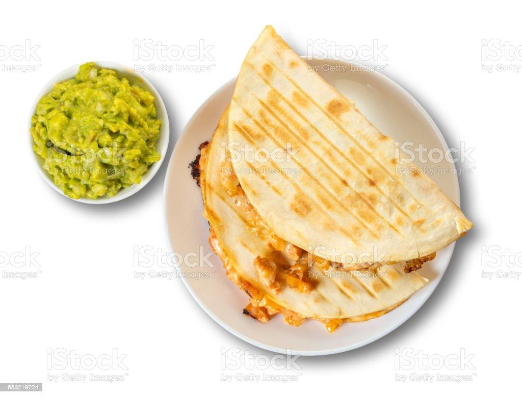 Quesadilla with guacamole sauce stock photo