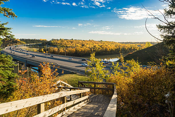 Quesnell Bridge - fall 2015, Edmonton, Alberta,Canada stock photo
