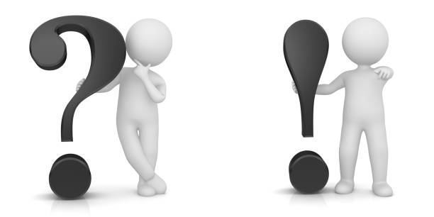 question and answer problems and solutions q and a idea brainstorming sign symbol icon 3d black question mark exclamation point light bulb thinking asking man stick figure person cut out white background - stick figure stock photos and pictures