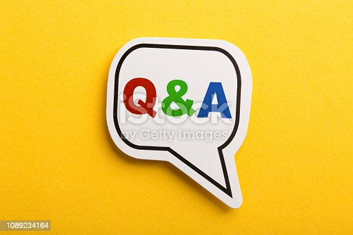 istock Question And Answer Speech Bubble Isolated On Yellow 1089234164