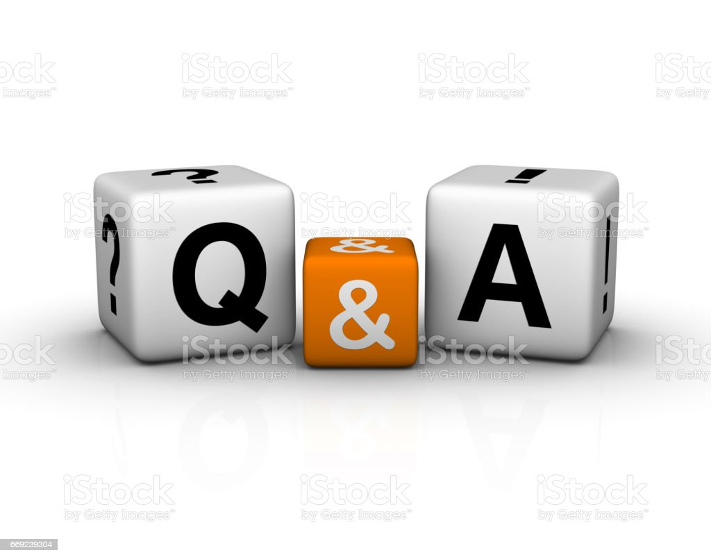 Question and Answers cubes symbol stock photo