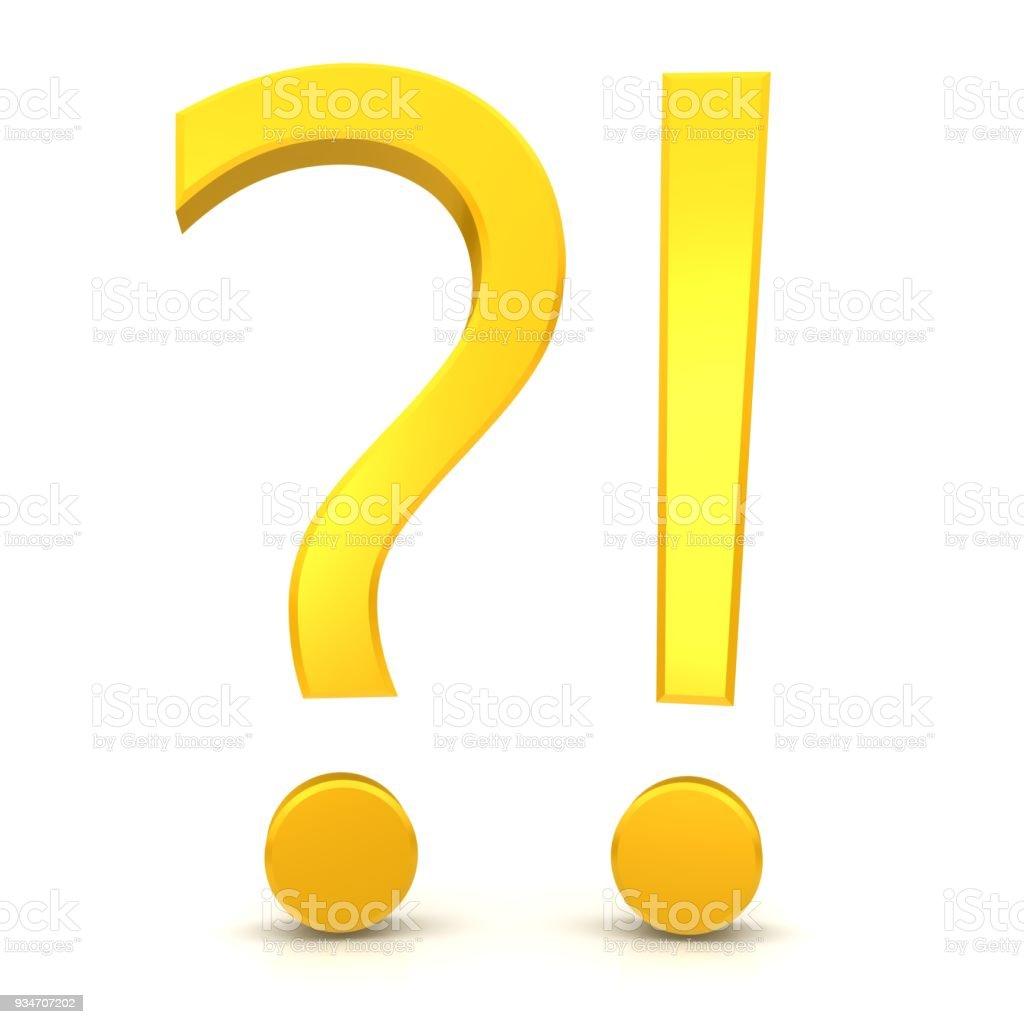vraag antwoord probleem oplossing teken symbool pictogram sjabloon vraagteken uitroepteken 3d geelgoud uitgesneden geïsoleerde witte achtergrond q and a foto
