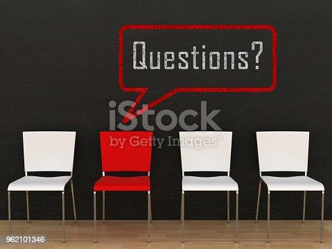 istock Question answer speech bubble message blackboard drawing 962101346
