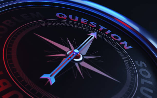 Question Concept: Arrow of A Compass Pointing Question Text stock photo