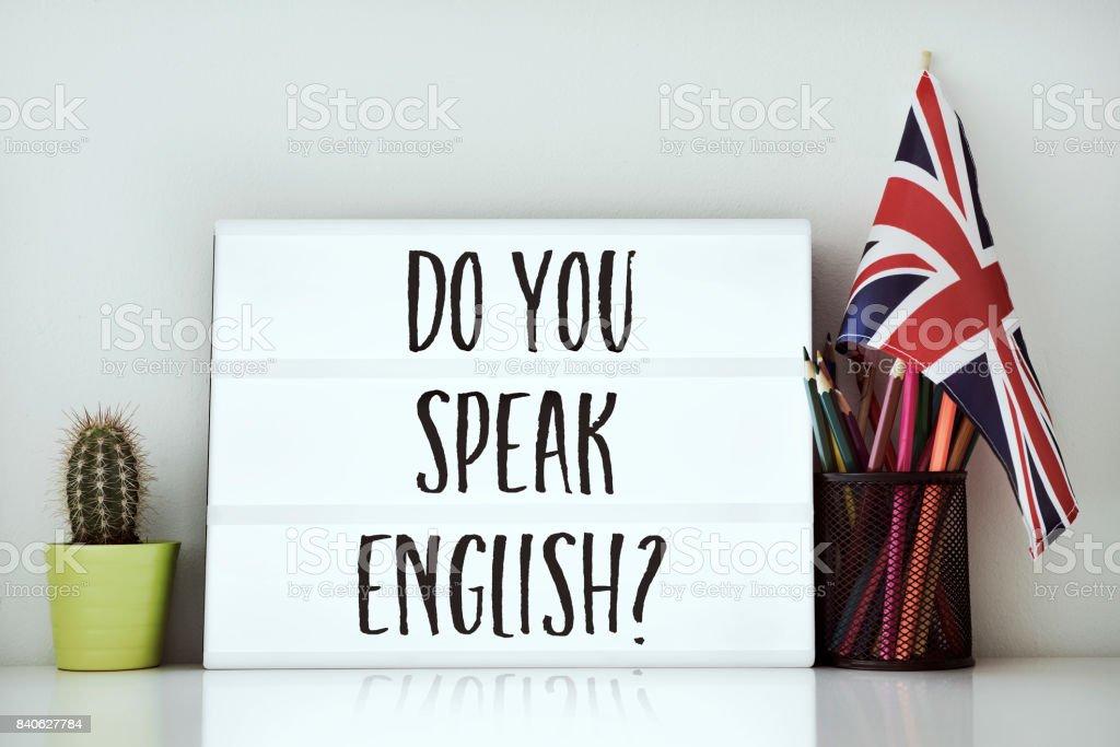 質問英語を話しますか。 ストックフォト