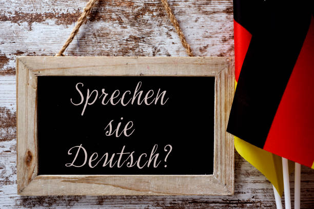 question do you speak German? in German stock photo