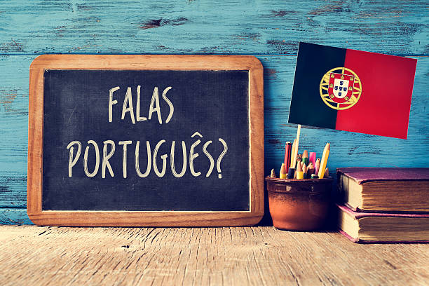 question falas portuges? do you speak Portuguese? stock photo