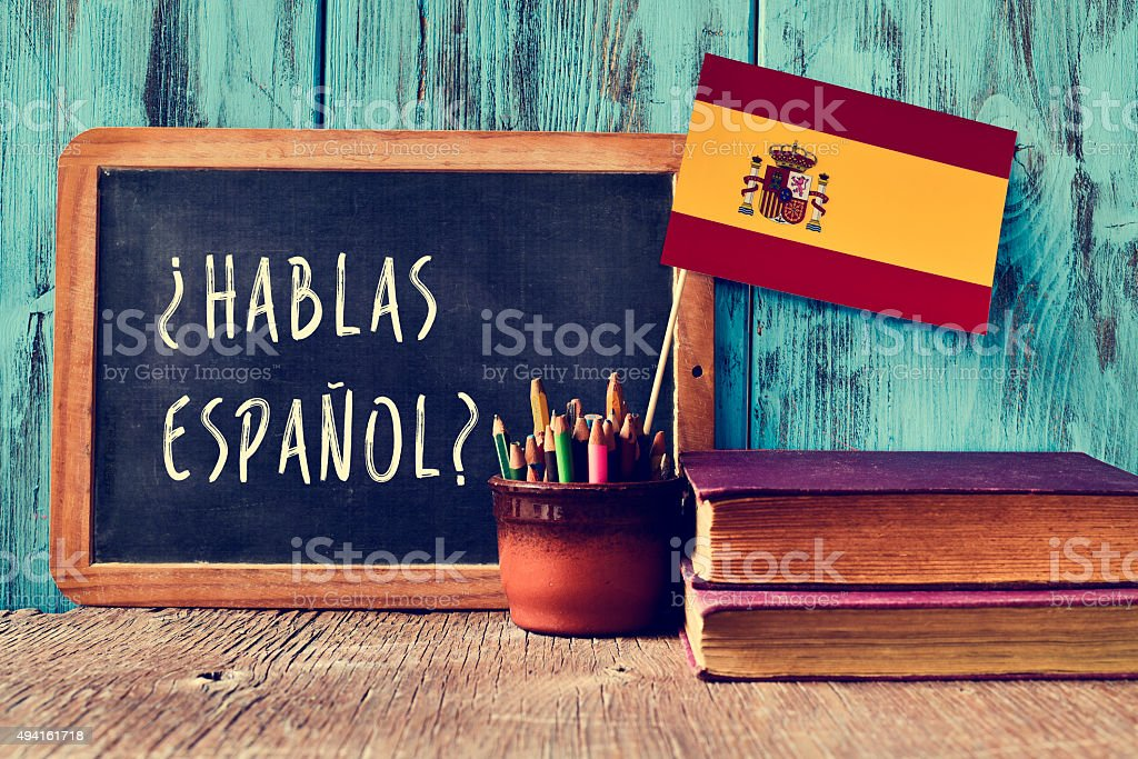 question hablas espanol? do you speak Spanish? - Royalty-free 2015 Stockfoto