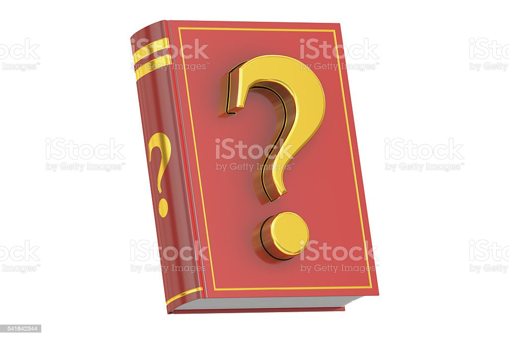 Question Manual concept, book with question mark, 3D rendering stock photo