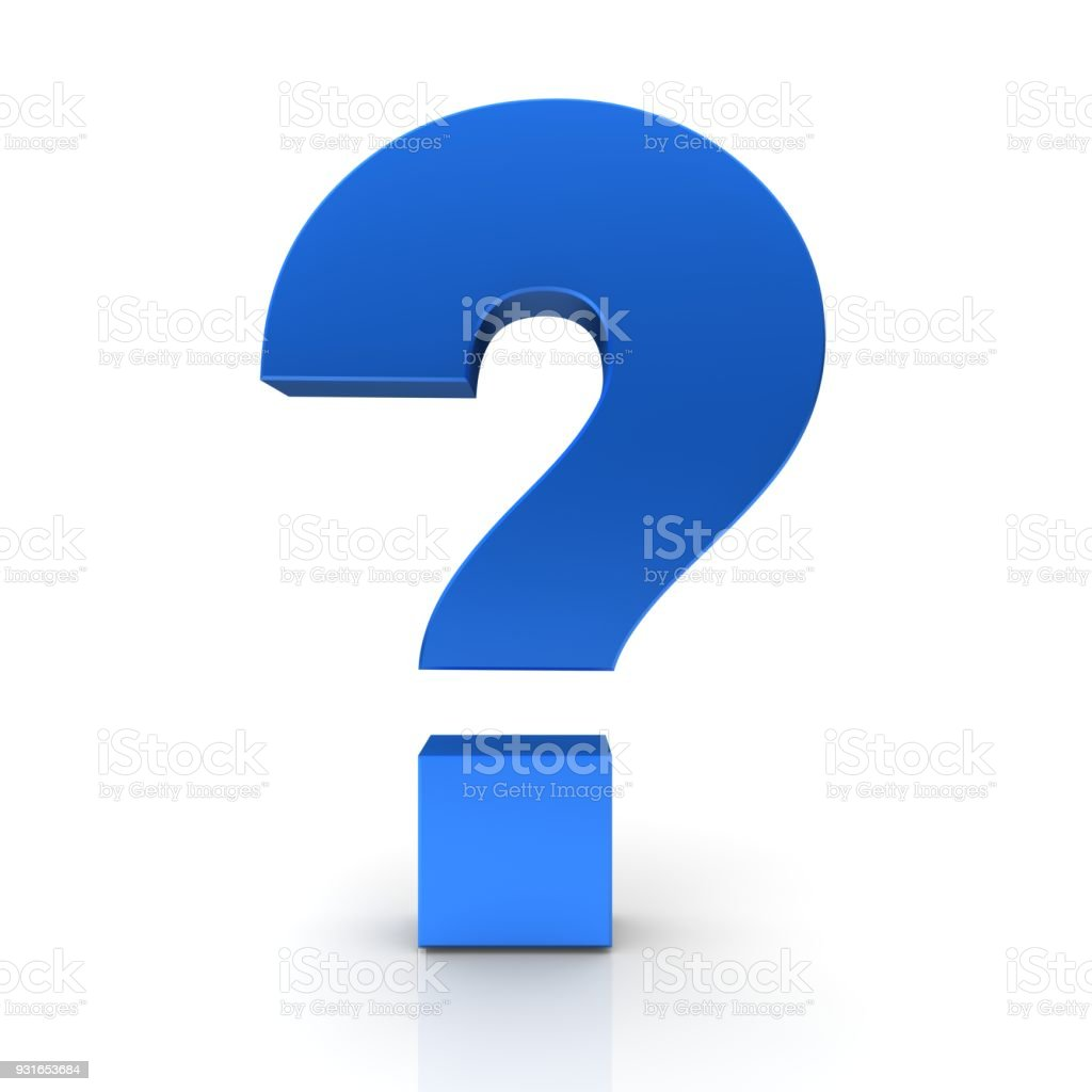 question mark 3d blue interrogation point query sign idea symbol brainstorming icon asking template cut out isolated on white background stock photo