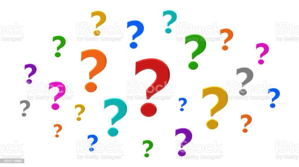 vraagteken 3d wolk kleurrijke rode oranje geel goud groen blauw paars roze zilver ondervraging punt vragen ondertekenen query symboolpictogram vragenlijst uitgesneden geïsoleerd op witte achtergrond foto