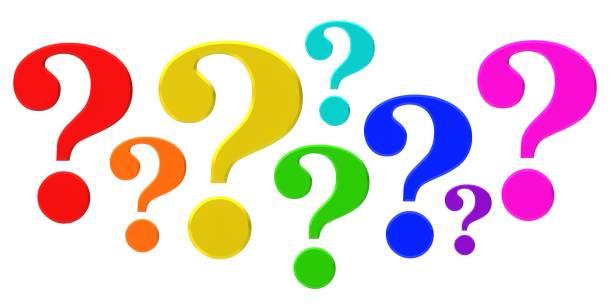 question mark 3d colored red orange green yellow blue pink cyan purple interrogation point punctuation sign questions symbol asking icon isolated on white background stock photo