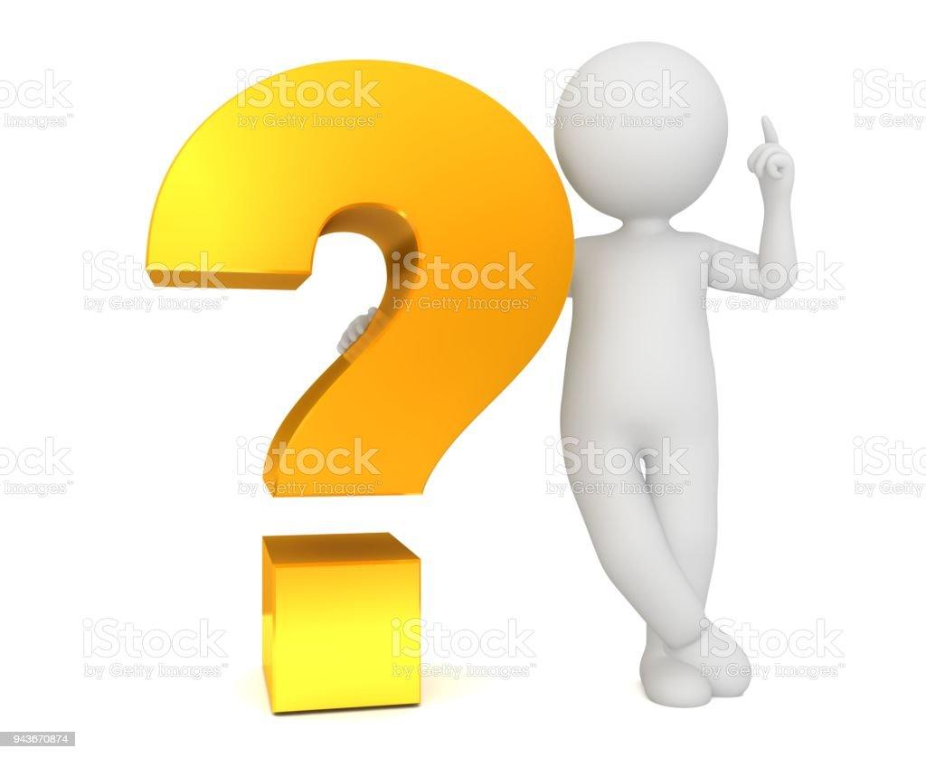 vraagteken 3d gouden ondervraging vragen teken query symboolpictogram idee uitgesneden witte achtergrond man figuur persoon foto