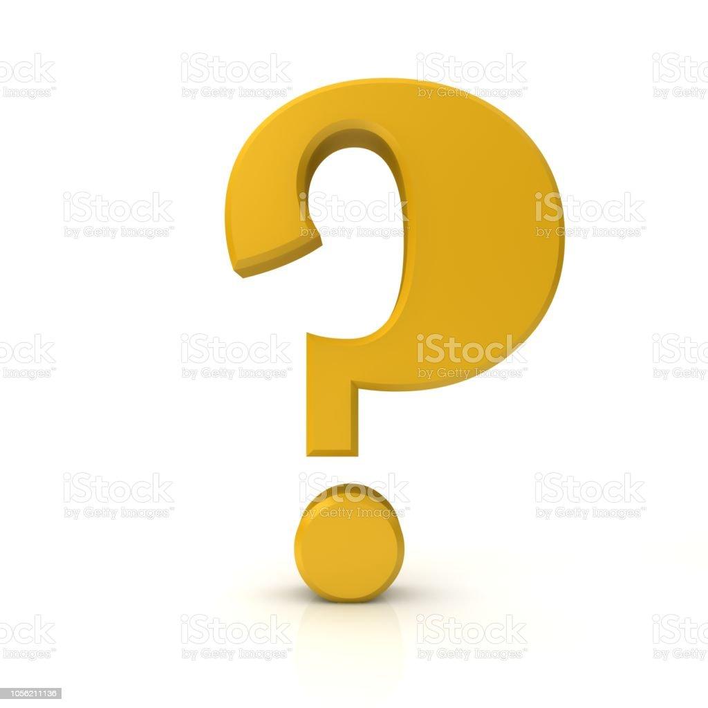 vraagteken 3d gouden ondervraging punt gevraagd teken zoeken symbool leren pictogram geïsoleerd op witte achtergrond foto