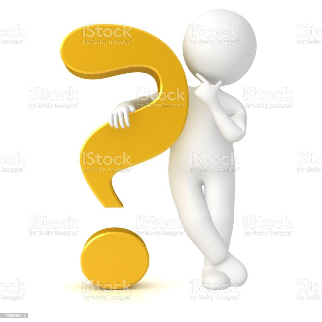 vraagteken 3d gouden ondervraging punt vragen denken stok figuur man persoon coach leren student teken geïsoleerd foto