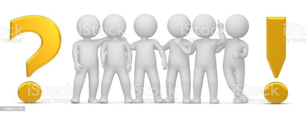 vraagteken 3d goud geel uitroepteken punt ondervraging interpunctie team collega's voldoen aan mannen cijfers tekens mensen personen vrienden teamwerk teken symbool pictogram hulp brainstormen idee geïsoleerd op witte achtergrond foto