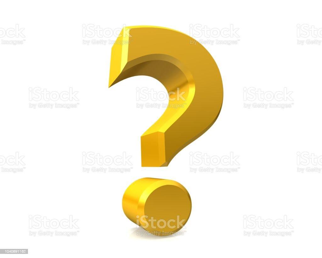 vraagteken 3d goud gele ondervraging punt gevraagd teken query symbool vragenlijst pictogram hulp steun helpen sjabloon geïsoleerde knippen uit op witte achtergrond foto