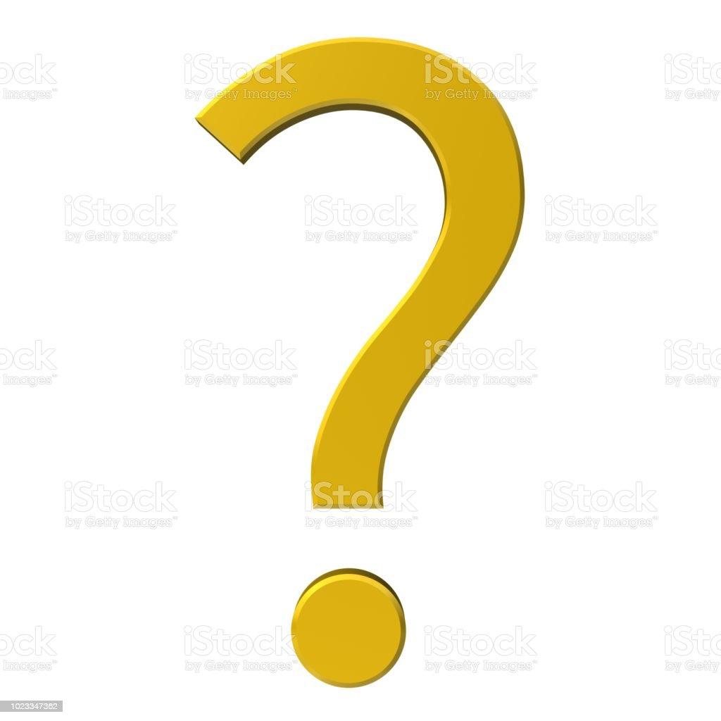 vraagteken 3d gouden ondervraging punt vragen teken leesteken geïsoleerd op witte achtergrond foto