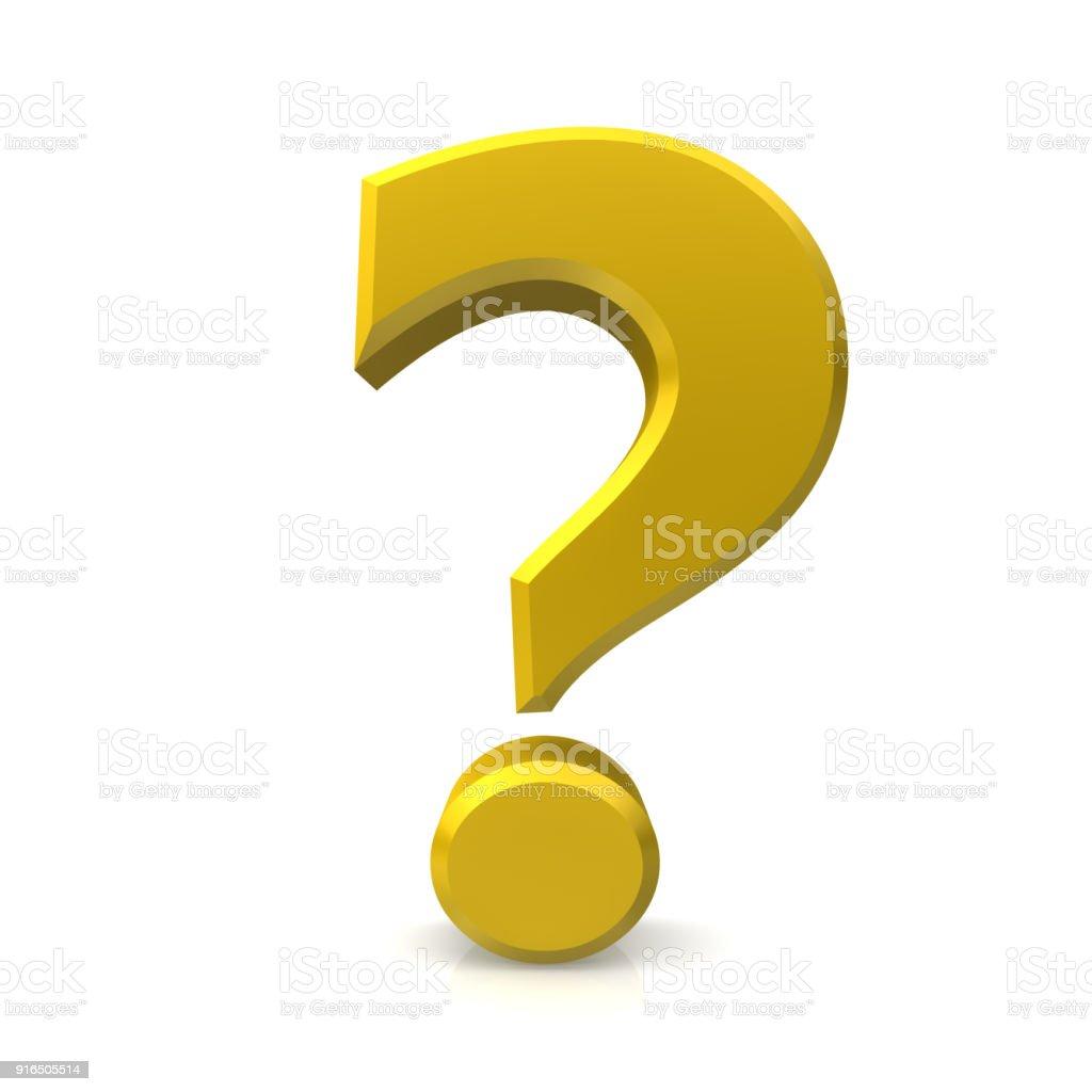 vraagteken 3d gouden query ondervraging punt vragen leesteken geïsoleerd op witte achtergrond foto