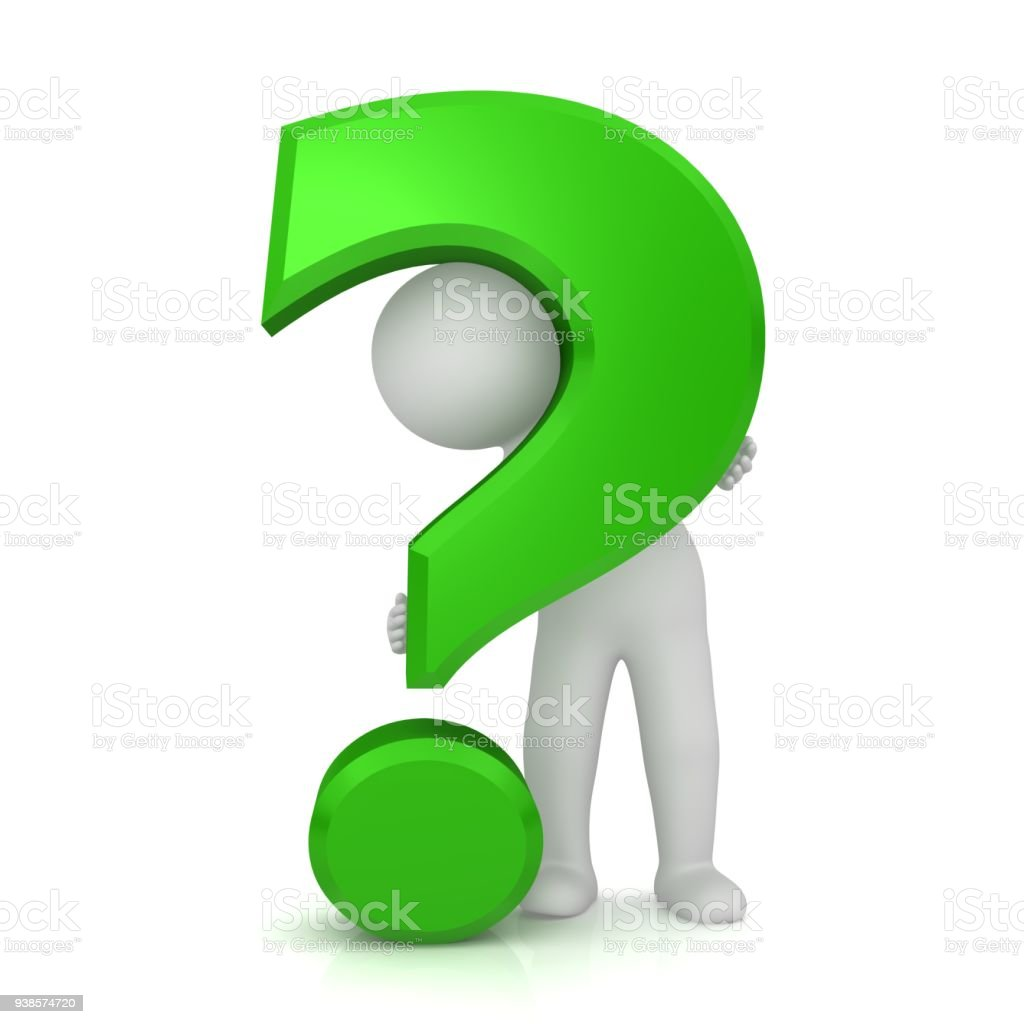 question mark 3d green interrogation point ask sign query symbol icon cut out white background stock photo