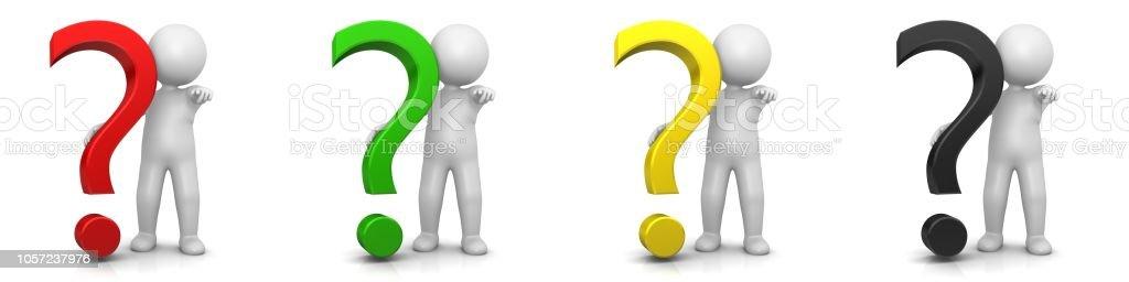 vraagteken 3d ondervraging punt gevraagd teken zoeken symboolpictogram met stok figuur man persoon geïsoleerd renderen afbeelding op witte achtergrond foto