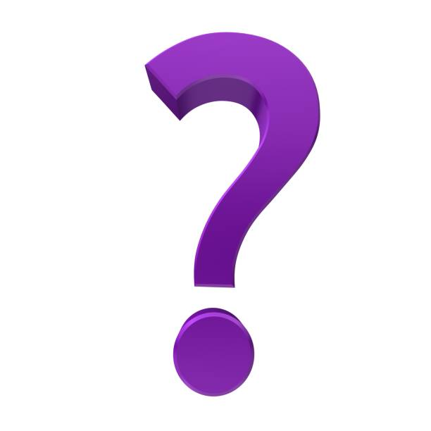 question mark 3d purple interrogation point asking sign isolated on white background stock photo