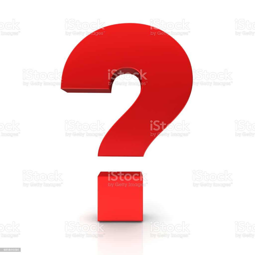 question mark 3d red interrogation point punctuation mark ask sign query symbol idea icon cut out isolated on white background stock photo