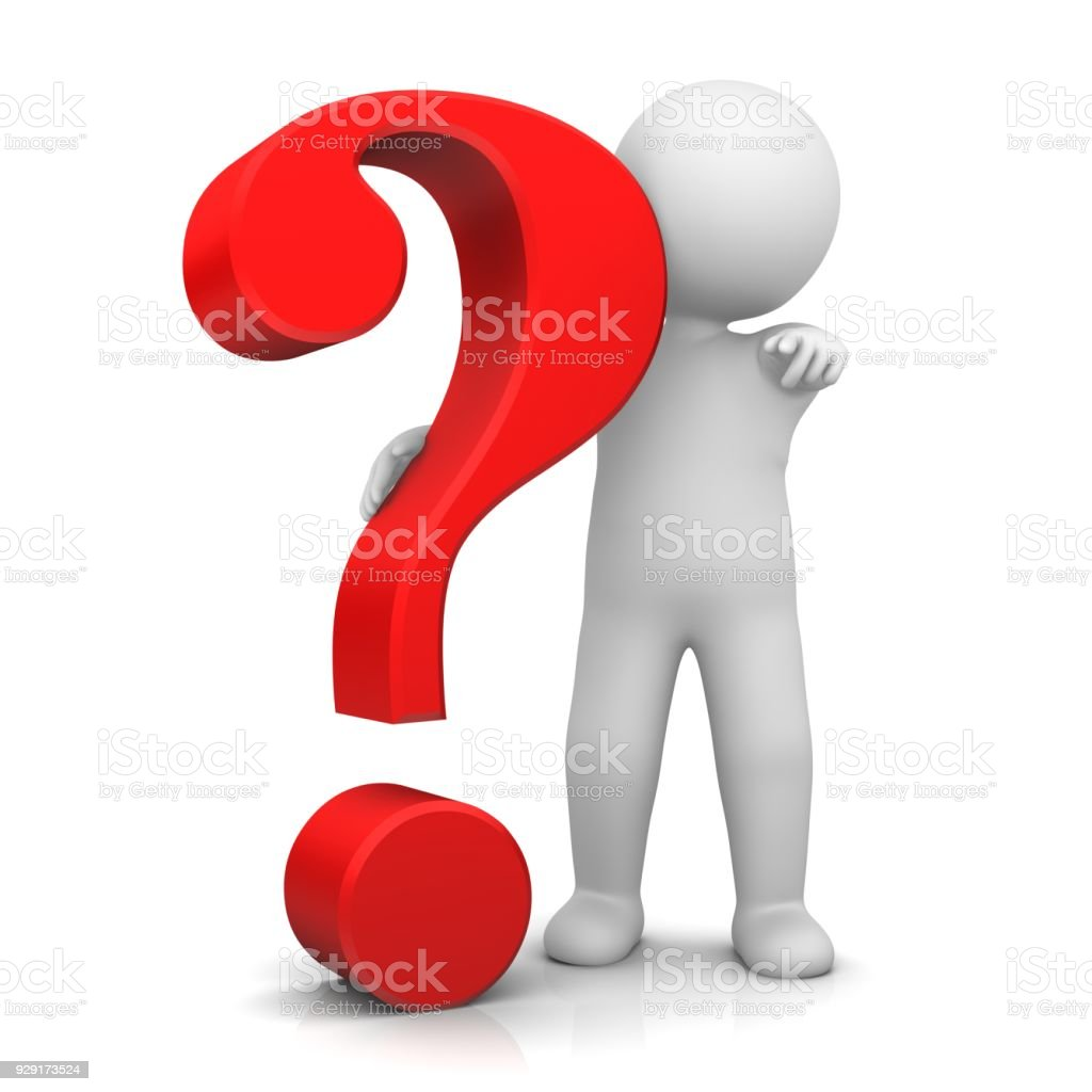 question mark 3d red interrogation point stick figure pointing at