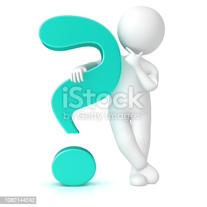 question mark 3d turquoise interrogation sign icon standing thinking asking stick figure man isolated