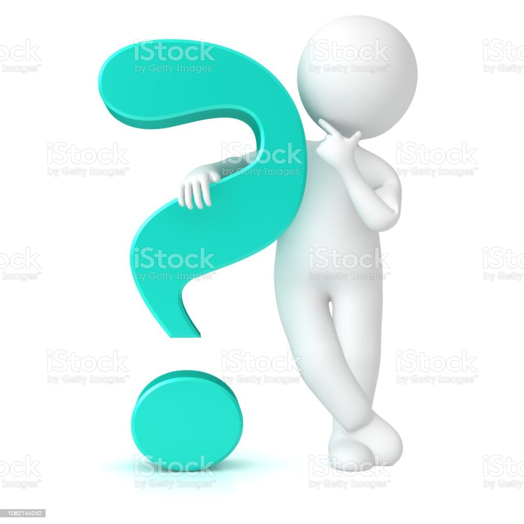 question mark 3d turquoise interrogation sign icon standing thinking asking stick figure man isolated stock photo