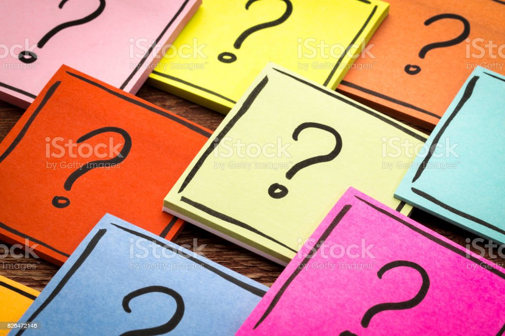 question mark abstract - sticky note set stock photo
