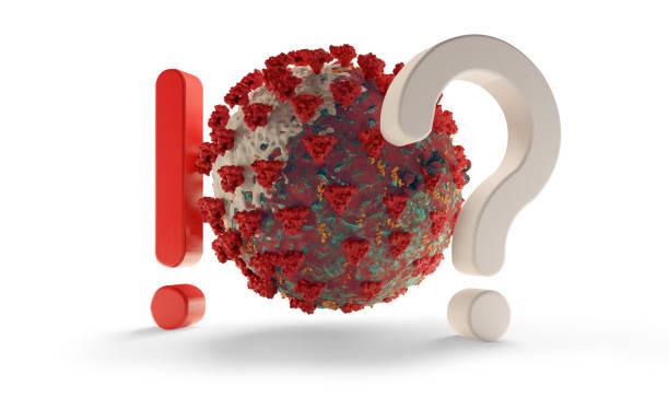 znak zapytania i wykrzyknik coronavirus covid-19 symboliczna ilustracja 3d - covid testing zdjęcia i obrazy z banku zdjęć