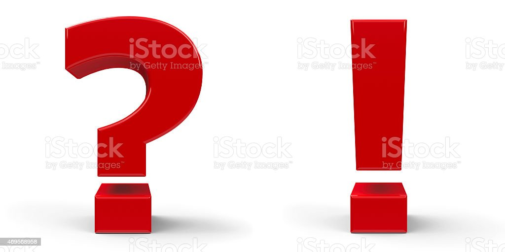 Question mark and exclamation point stock photo