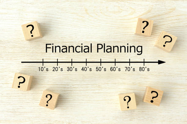 Question mark and financial planning images stock photo