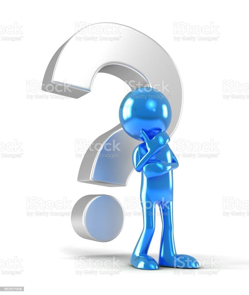 Ilustración 3d hombre y signo de interrogación - foto de stock