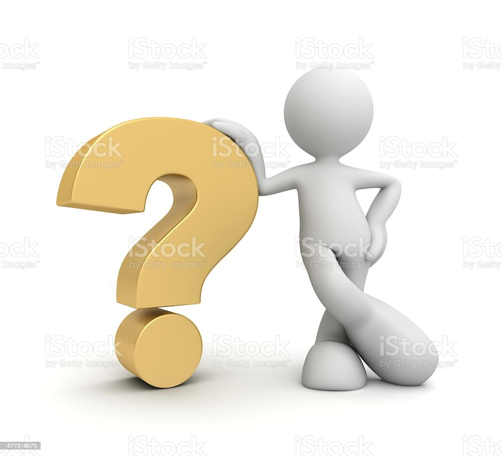 Question mark and man stock photo