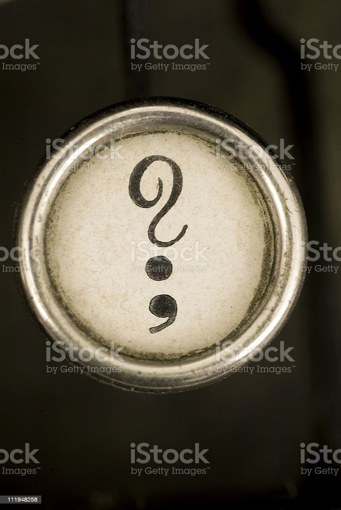 Question mark and semi colon royalty-free stock photo