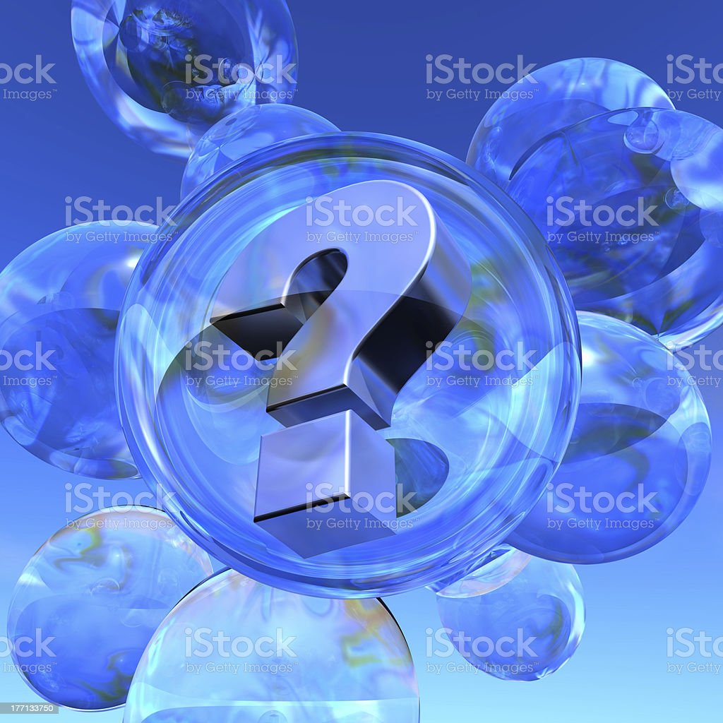 Question mark and soap bubbles stock photo