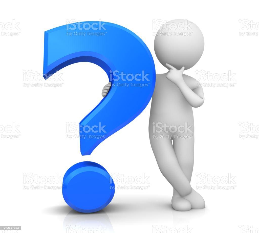 Blaues Fragezeichen 3d Verhör Punktsatzzeichen Fragen Dass Zeichen ...