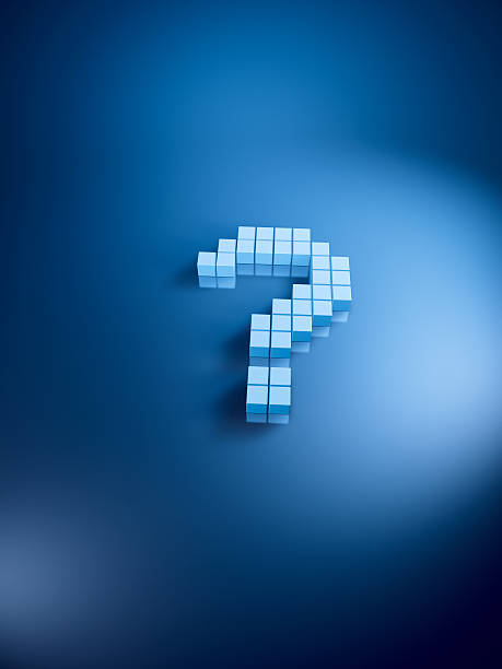 Question Mark Blue Cubes Vertical 3D Render of a question mark symbol with pixelated blue cubes. Very high resolution available! Use it for Your own composings!Related images: blue 3d business NOT map NOT background stock pictures, royalty-free photos & images