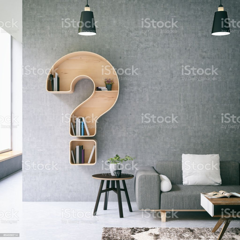 Question Mark Book Shelf stock photo