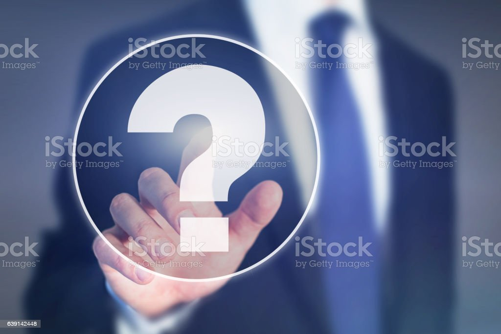 question mark, business help concept, ask expert stock photo