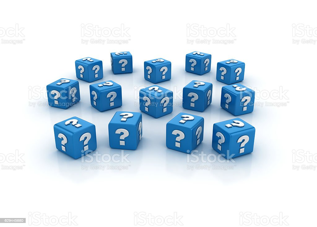 Question Mark Buzzword Cubes - 3D Rendering stock photo