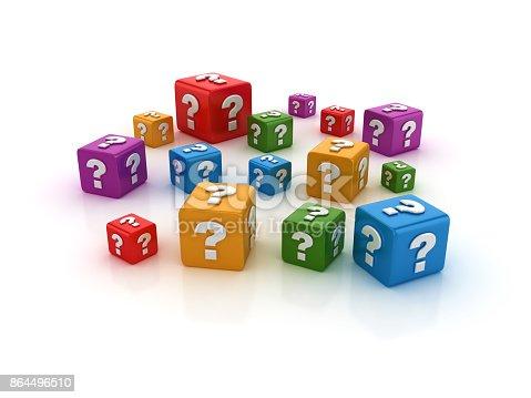 istock Question Mark Buzzword Cubes - 3D Rendering 864496510