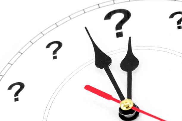 question mark clock stock photo