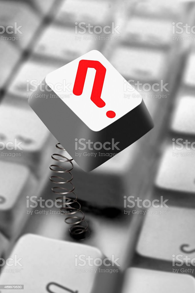 Question mark, computer keyboard stock photo